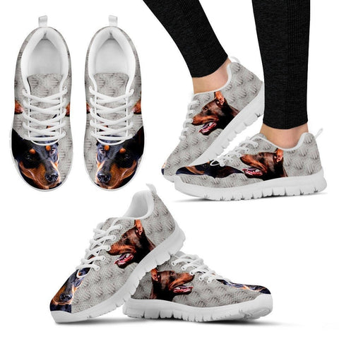 German Pinscher Dog Print-(Black/White) Running Shoes For Women-Express Shipping