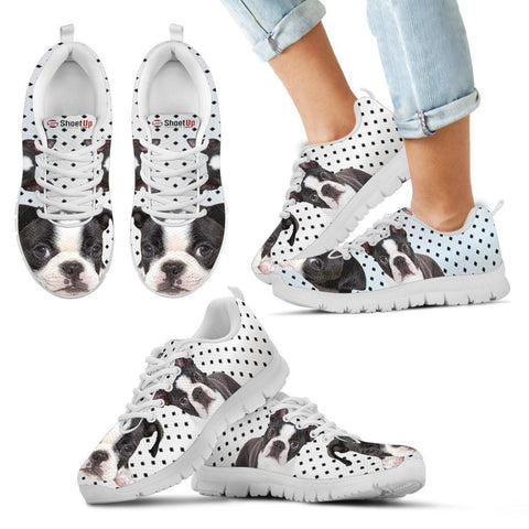 Boston Terrier Black Dots Print Running Shoes For Kids-Free Shipping