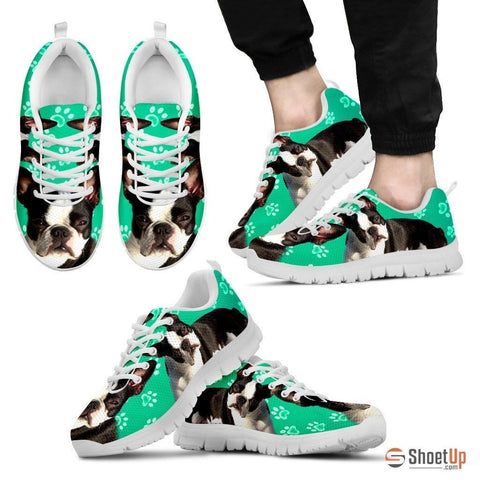 Boston Terrier Paws Print (Black/White) Running Shoes For Men-Free Shipping Limited Edition