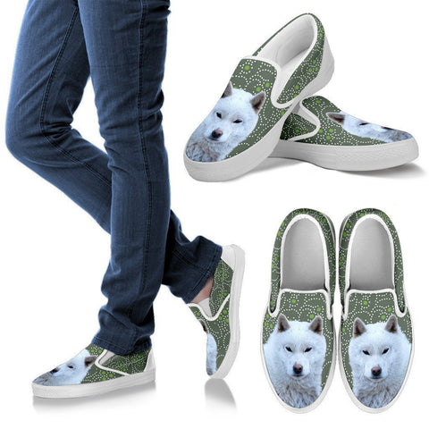 Hokkaido Dog Print Slip Ons For Women-Express Shipping