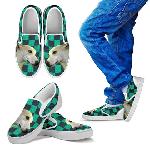 Whippet Dog Print-Slip Ons For Kids-Express Shipping