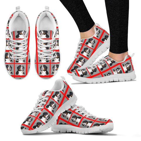 Bernese Mountain Pattern Print Sneakers For Women- Express Shipping