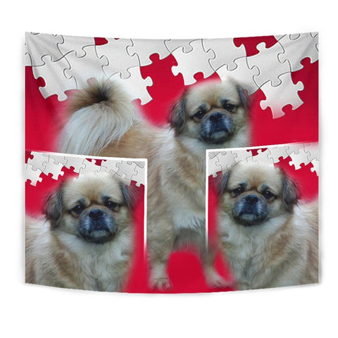Tibetan Spaniel Print On Red Tapestry-Free Shipping