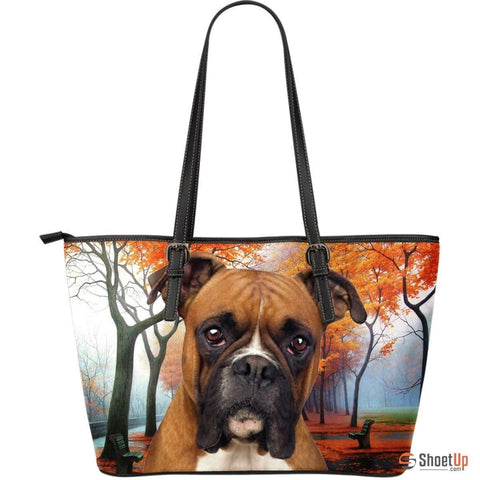 Boxer Dog-Large Leather Tote Bag-Free Shipping