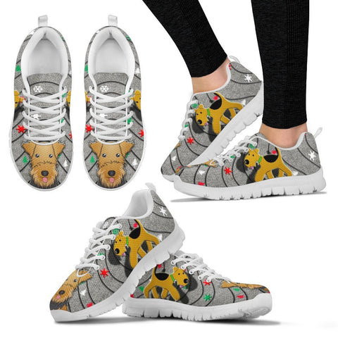 Airedale Terrier Print Christmas Running Shoes For Women-Free Shipping