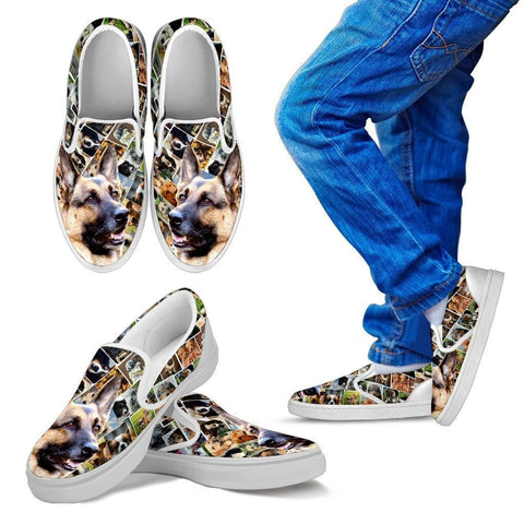 Amazing German Shepherd Print Slip Ons For Kids-Express Shipping