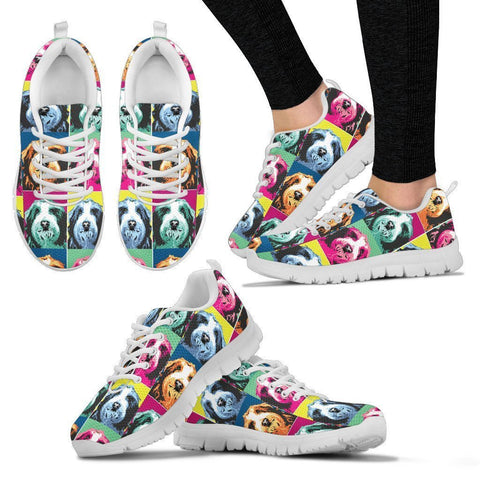 Bearded Collie Pattern Print Sneakers For Women- Express Shipping