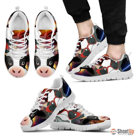 Cow Toon Print Running Shoe Men- Free Shipping