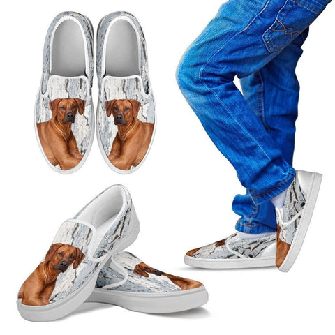 Rhodesian Ridgeback Dog Print Slip Ons For Kids-Express Shipping