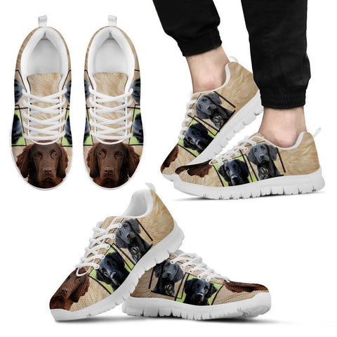 Flat-Coated Retriever Print Sneakers For Men(White)-Express Shipping