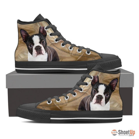 Boston Terrier Dog-Women's High Top Canvas Shoes-Free Shipping