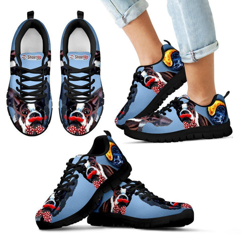 Amazing Boston Terrier Black Sneakers For Kids- Free Shipping
