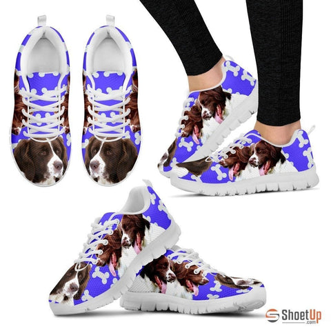 Drentsche Patrijshond Dog Print (Black/White) Running Shoes For Women-Free Shipping