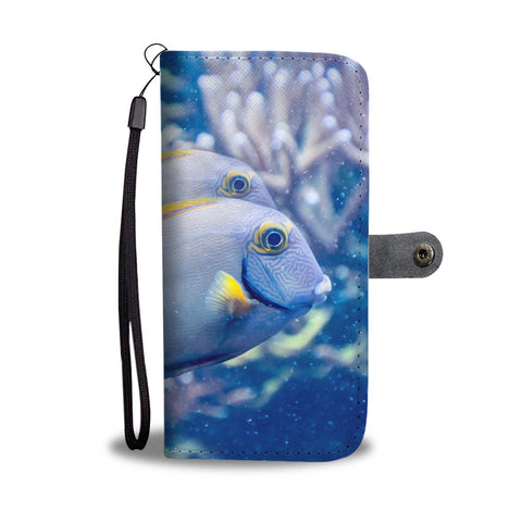 Grey And Yellow Tang Fish Print Wallet Case-Free Shipping