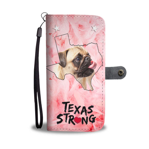 Pug On Pink Print Wallet Case-Free Shipping-TX State