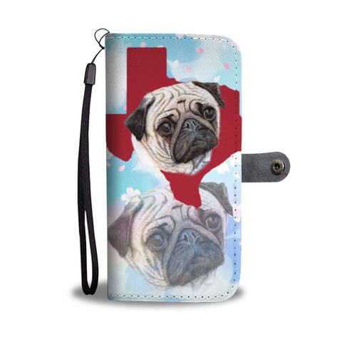 Cute Pug Dog Art Print Wallet Case-Free Shipping-TX State