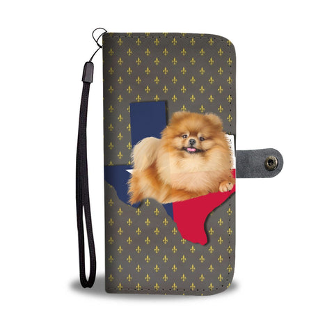 Cute Pomeranian Dog Print Wallet Case-Free Shipping-TX State