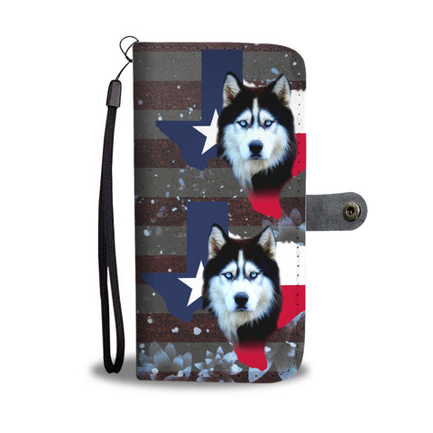 Siberian Husky Dog Print Wallet Case-Free Shipping-TX State