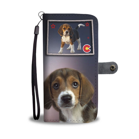 Cute Beagle Print Wallet Case-Free Shipping-CO State
