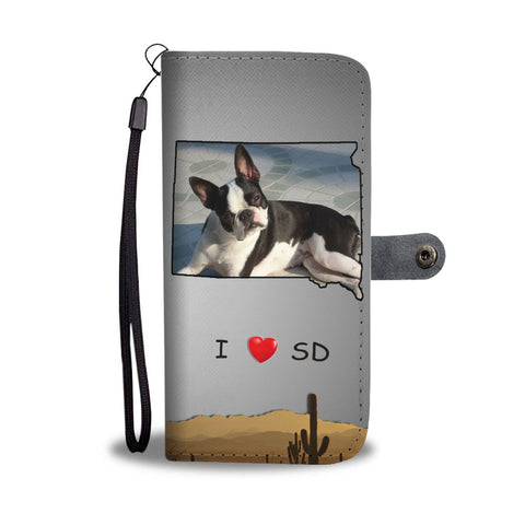 Lovely Boston Terrier Print Wallet Case-Free Shipping-SD State