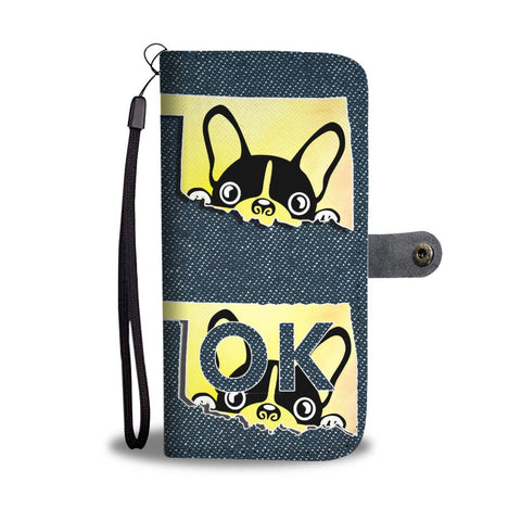 Cute Boston Terrier Print Wallet Case-Free Shipping-OK State