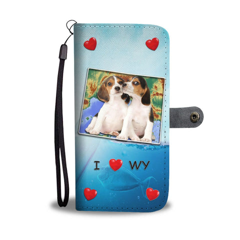 Lovely Beagle Dog Print Wallet Case-Free Shipping-WY State