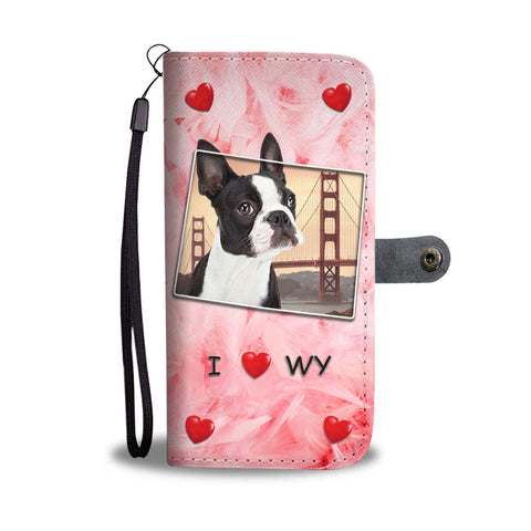 Boston Terrier Print Wallet Case-Free Shipping-WY State