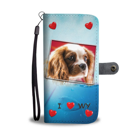 Cute Cavalier King Charles Spaniel Print Wallet Case-Free Shipping-WY State