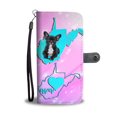 Cute French Bulldog Print Wallet Case-Free Shipping-WV State