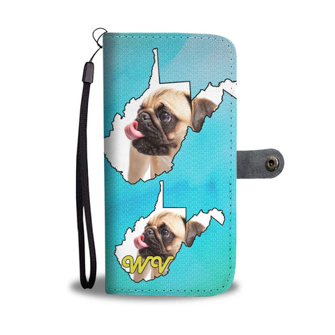 Cute Pug Dog Print Wallet Case-Free Shipping-WV State