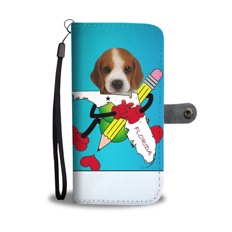 Beagle Puppy Print Wallet Case-Free Shipping-FL State