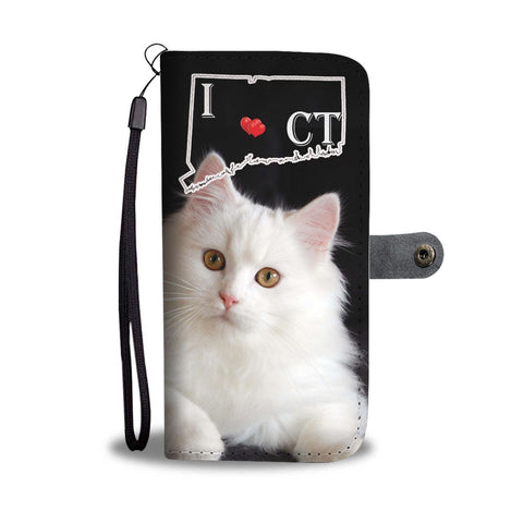 Persian Cat Print Wallet Case-Free Shipping-CT State