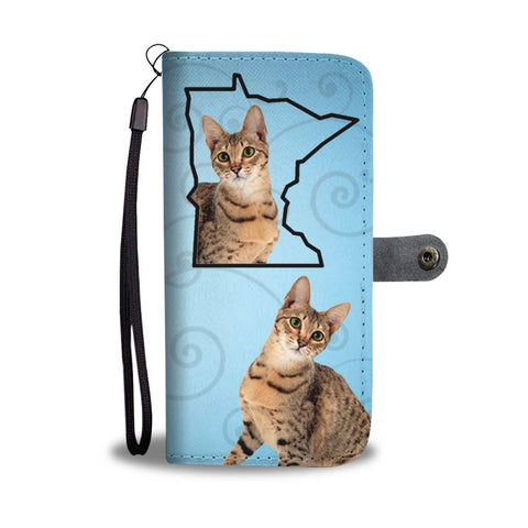 Savannah Cat Print Wallet Case-Free Shipping-MN State