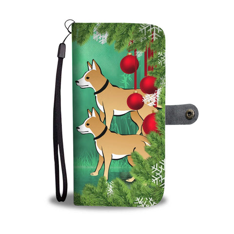 Brown Eskimo Dog Art Christmas Print Wallet Case-Free Shipping