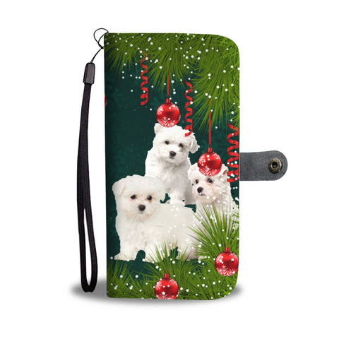 Cute Maltese Dog Christmas Print Wallet Case-Free Shipping