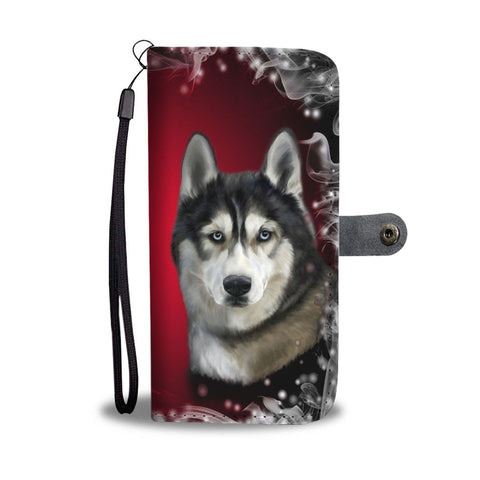 Siberian Husky Dog Art Christmas Print Wallet Case-Free Shipping