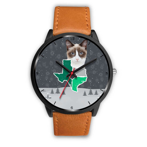 Snowshoe Cat Texas Christmas Special Wrist Watch-Free Shipping