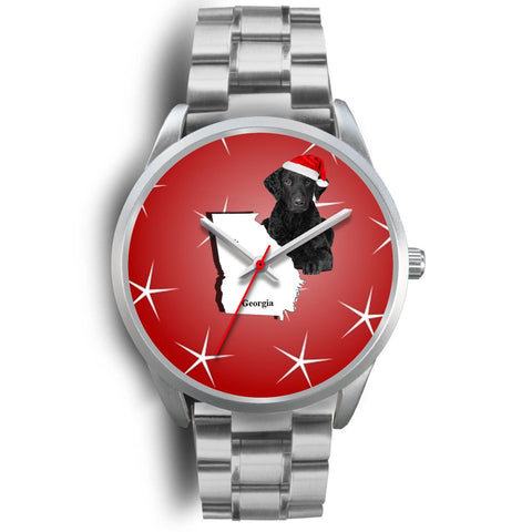Curly Coated Retriever Georgia Christmas Special Wrist Watch-Free Shipping