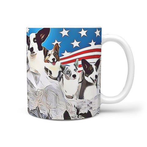 Cute Cardigan Welsh Corgi Mount Rushmore Print 360 White Mug
