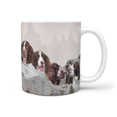 Cute English Springer Spaniel Dog On Mount Rushmore Print 360 Mug