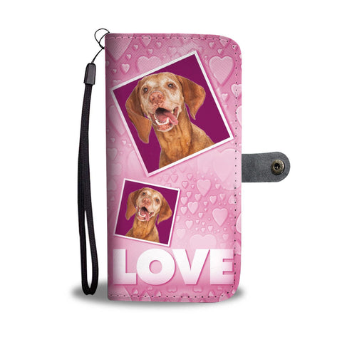 Vizsla Dog with Love Print Wallet Case-Free Shipping