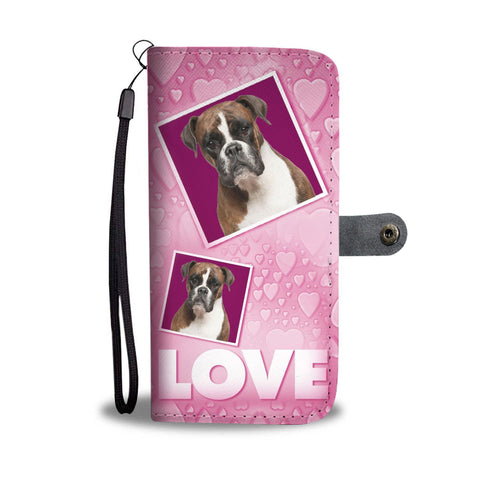 Boxer Dog with Love Print Wallet Case-Free Shipping