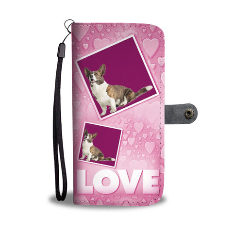 Cardigan Welsh Corgi with Love Print Wallet Case-Free Shipping