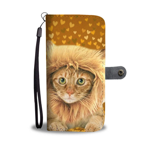 Cute Bengal Cat On Hearts Print Wallet Case-Free Shipping