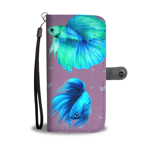 Betta Fish (Siamese Fighting Fish) On Hearts Print Wallet Case-Free Shipping