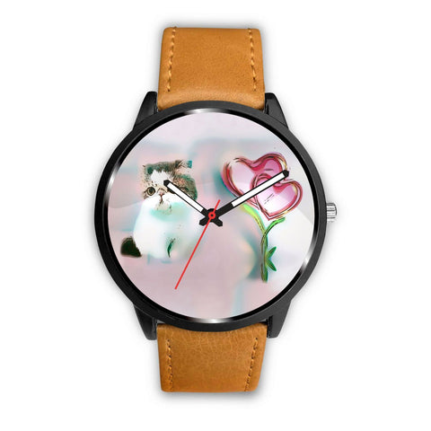 White Exotic Shorthair Cat With Love Rose Print Wrist Watch-Free Shipping