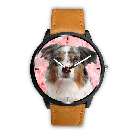 Australian Shepherd On Pink Print Wrist Watch - Free Shipping