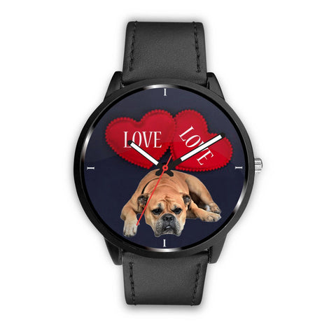 Bullmastiff with Love Print Wrist Watch-Free Shipping