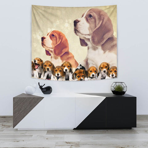 Cute Beagle Dog On Golden Print Tapestry-Free Shipping