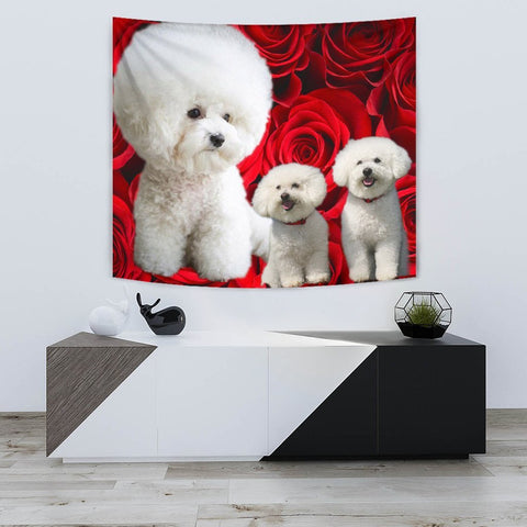 Bichon Frise On Rose Print Tapestry-Free Shipping